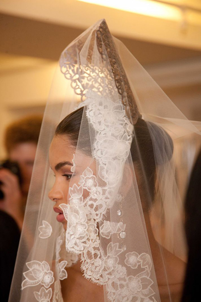 Bridal Gown, Laced Full Veil by Oscar de la Renta